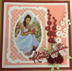 Konfirmationskort Confirmation Cards, Female Girl, Scrapbook Pages, Embellishments, Disney Princess, Disney Characters, Frame, Inspiration, Design