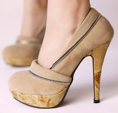KVOLL Beige Suede Leather Wooden Platform Pumps with Zipper - Shoes & Heels Shoe Boots, Shoes Heels, Dress Shoes, Women's Pumps, Platform Pumps, Beautiful Shoes, Suede Leather, Fashion Shoes, Peep Toe