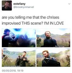Chris Evans and Chris Hemsworth improvising DC and Marvel new haircut notice you copied my beard - New Hair Cut Marvel Avengers, Marvel Jokes, Avengers Memes, Marvel Funny, Marvel Dc Comics, Marvel Heroes, Captain Marvel, Captain America, Marvel Actors