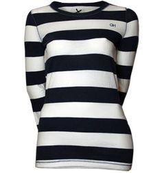Womens-Gilly-Hicks-Navy-Striped-T-Shirt For Sale on Ebay £12.00 free postage