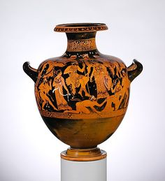 Terracotta hydria: kalpis (water jar)  Attributed to the Meleager Painter    Period: Classical  Date: early 4th century B.C.  Culture: Greek, Attic  Medium: Terracotta; red-figure