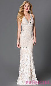 Buy Long Embroidered V-Neck Gown JVN27623 from JVN by Jovani at PromGirl