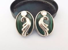 TURE Designs Designer Scroll Sterling Silver 925 Malachite Oval Post Earrings #Ture #DropDangle