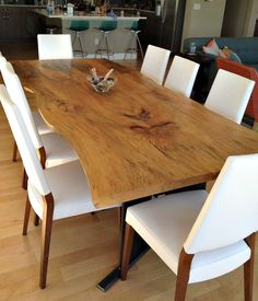 Custom sycamore and steel dining table with the most beautiful large grain  and distinctive live edge