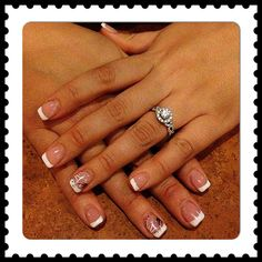 This is a classy French manicure with black and white nail designs.