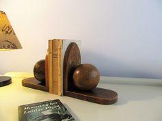 Vintage Dutch Art Deco Pair of Wooden Bookends Amsterdam School Antique Sphere…