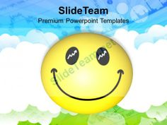 smiley face over cloudy background powerpoint templates ppt themes and graphics 0213 #PowerPoint #Templates #Themes #Background