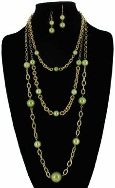 "Gold Plated Jewelry Set Necklace Pierced Earrings Chain Layered Green Faux Pearl China. $12.95. Faux Pearl Beads. Earrings: 2"". Necklace and Pierced Earrings Set. Length: 19""-20"". Gold Plated Metal. Save 35% Off!"