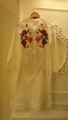 Zikimo specialize in customized attires crafted in high quality fabric and craftsmanship. Make your own custom neck designs for your events or groups as. Pakistani Dresses Casual, Pakistani Dress Design, Indian Dresses, Indian Outfits, Kurta Designs, Blouse Designs, Simple Dresses, Nice Dresses, Embroidery Suits