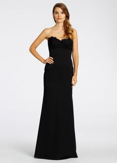 Noir luminescent chiffon strapless  A-line bridesmaid gown, sweetheart neckline with lace trim, corset bodice, natural waist Bridesmaids Dresses: Junior, Maternity & Flower Girl Dresses by Jim Hjelm Occasions - Bridesmaids and Special Occasion Style jh5531 by JLM Couture, Inc.