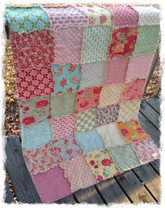 Rag Quilt - Toddler Size - Ready To Ship - Marmalade by Bonnie and Camille Handmade Modern Bedding. $135.00, via Etsy.