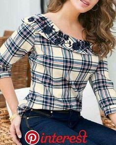 lightinthebox / Damen Verziert T-shirt Marineblau Salwar Designs, Short Kurti Designs, Blouse Designs, Denim Fashion, Trendy Fashion, Ladies Fashion Tops, Ladies Tops, Sleeves Designs For Dresses, Girls Blouse