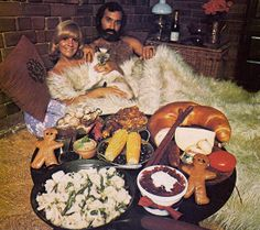 Thanksgiving Day with shag rug Siamese and giant bread