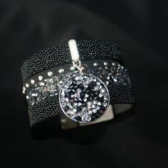 """Kit """"DIY"""" Bracelet manchette multi rangs en cuir noir et argenté pailleté cristal rock swarovski brillant élégant : Kits, tutoriels bijoux par fais-le-toi-meme"""