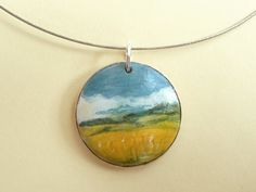 Wood Jewelry - Art Necklace with Miniature Painting of Golden Meadow, Landscape. $22.00, via Etsy.
