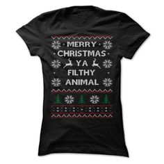 Merry Christmas Ya Filthy Animal T-Shirts, Hoodies. Get It Now ==► https://www.sunfrog.com/Christmas/Merry-Christmas-3583-Black-Ladies.html?41382