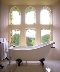 Claw Foot Tub with a View of the Irish Countryside at Adare Manor in Ireland