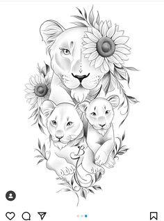 Bull Tattoos, Animal Tattoos, Body Art Tattoos, Lioness And Cub Tattoo, Tiger Tattoo, Tattoo Sketches, Tattoo Drawings, Lion And Rose Tattoo, Lion Tattoo Design