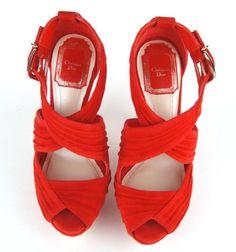 Scintillating, Elegant & Vibrant!!! - Christian Dior Rouge Suede Rocks Peep Toe Platform Sandals Shoes