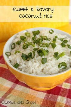 Sweet and Savory Coconut Rice - Mellow coconut flavor. Perfect side dish! I made it in the rice cooker/steamer instead of in a saucepan (just dumped all the ingredients into the rice cooker and let it go) and it came out perfectly fluffy and tasty! - Nance