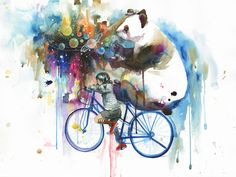 Lora Zombie art print - panda bear on a bicycle blowing rainbow bubbles with little girl