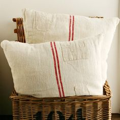"Patched grain sack pillows...awesome!  I might 'grunge' them a bit to age them and make them more ""prim""!!      ;)"