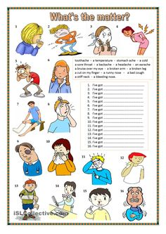 What's the matter? - English ESL Worksheets for distance learning and physical classrooms English Lessons, English Words, English Grammar, Teaching English, Learn English, English Language, English English, French Lessons, Spanish Lessons