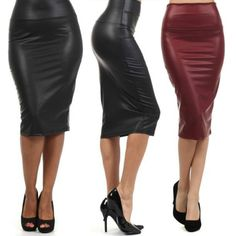 c84a2a4fe01 High-waist Faux Leather Pencil Skirt Black Skirt