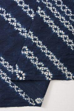 Japanese Indigo shibori cotton  Diagonal ori nui shibori by orime, $27.00