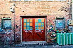 Rainbow Door, Street Art, Urban Photography, Asheville, NC: Doors in Chicken Alley Colorful Wall Decor Fine Art Photo Print Funky Doors