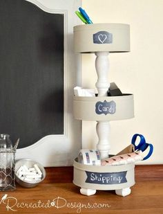 s the newest diy space saving storage ideas to keep your home organized, Cookie Tins Into A Tiered Stand What's better than having a neat & tidy home? These DIY ideas will help you get there! Scroll down to view the full projects. Craft Storage, Storage Ideas, Storage Hacks, Tiered Stand, Space Saving Storage, Neat And Tidy, Diy Organization, Organizing Tips, Cleaning Hacks