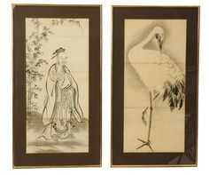 Two large decorative antique Japanese paintings - $350.