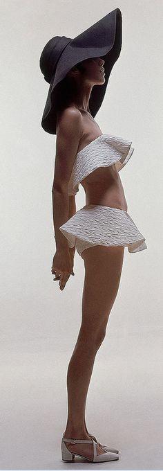 1969 Moyra Swan in two-piece ruffle bathing suit, photo by Bert Stern, Vogue, June