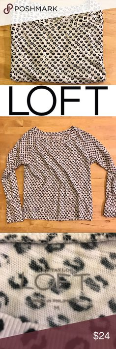 """LOFT Crew Neck Sweater Light weight sweater from LOFT!  This white sweater has black spots all over.  Look closely because they aren't polka dots...more like an organic animal fur spot.  The sweater is in great pre-owned condition with no damage.  Bust measures 16"""" (x2) laid flat. LOFT Sweaters Crew & Scoop Necks"""