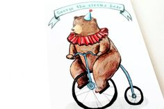 Card George circus bear riding a vintage by LaDouceurDuMiel