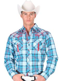 33603 Camisa Vaquera Caballero El General, 65% Polyester 35%Cotton - Turquoise