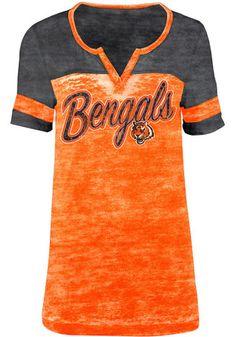 Cincinnati Bengals Womens Washes Orange Scoop T-Shirt