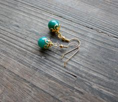 Small Gold Earrings, Teal Agate Stone, Filigree Detail