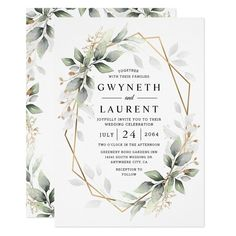 Ad: Design features watercolor airy mixed greenery foliage and branches in various shades of green with printed gold design leaf elements over a gold colored geometric frame. #rustic #wedding #green #and #gold #geometric #wreath #white #fall #eucalyptus #foliage #greenery #botanical #natural #floral #leaf #watercolor #boho #terrarium #olive #branch #leaves #winter #modern #dark #winery #themed #vintage #airy #bohemian #woodland #style #neutral #spring #nature #garden #theme #country #sage #summe Elegant Wedding Invitations, Rustic Invitations, Zazzle Invitations, Birthday Invitations, Invitation Templates, Invitation Cards, Invites, Wedding Envelopes, Baby Shower Invitations For Boys