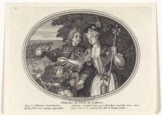 Bernard Picart | Reizigers naar het eiland Cythere, Bernard Picart, Gaspard Duchange, 1705 | Binnen een ovaal zijn een rijk geklede dame en heer voor bossage afgebeeld. De dame (Venus) omvat met haar linkerhand een staf, hier als attribuut van de pelgrim bedoeld. De schelp in haar rechterhand heft zij op als een glas. De man schenkt er vanuit een kruik wijn in. Voor het liefdespaar staat de halfnaakte Bacchus, god van de wijn, met een kroon van wingerdbladeren en in zijn hand een thyrsus…