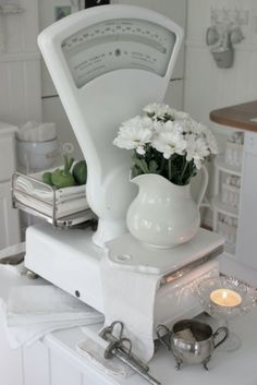 Vintage white scale, perfect for farmhouse decorating.