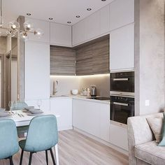 20 Inspiring Kitchen Cabinet Colors and Ideas That Will Blow You Away Kitchen Room Design, Best Kitchen Designs, Kitchen Cabinet Colors, Modern Kitchen Design, Living Room Kitchen, Interior Design Kitchen, Kitchen Layout, Small Apartment Interior, Small Apartment Kitchen