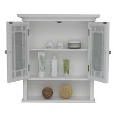 This lovely Jezzebel wall cabinet features two cabinet doors with silver mosaic glass bordered with clear glass for an amazing look. It has two shelves behind cabinet doors and one open shelf, all with ample storage.