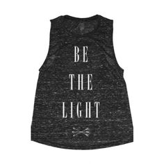 iamVibes Black Be the Light Muscle Tee ($58) ❤ liked on Polyvore featuring tops, black, black singlet, black tank, loose black tank top, loose fit tops and loose fit tank tops