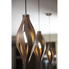 Shop the Cocoon 1 - Light Unique / Statement Geometric Pendant at Perigold, home to the design world's best furnishings for every style and space. Wood Pendant Light, Pendant Lighting, Pendant Lamps, Interior Lighting, Home Lighting, Lighting Design, Diy Lampe, Unique Lamps, Bedroom Lamps