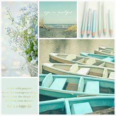 Color Hues: A Seaside Morning on a Lazy Day. Nature Collage, Love Collage, Beautiful Collage, Life Is Beautiful, Soft Colors, Pastel Colors, Paint Colors, Collages, Photo Mosaic