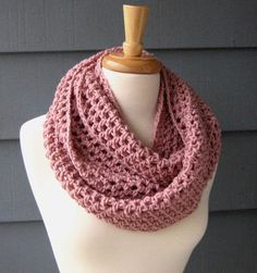 RTS / NORA (medium) - Infinity Scarf,Cowl, Neckwarmer, Unisex, ArtsyCrochet - Rosey Cheeks or Choose Your Color