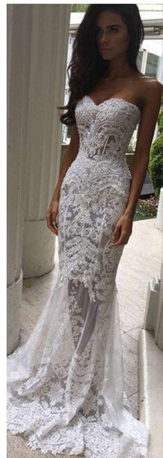 sexy white bridal dress  wedding dress lace white bridal dress