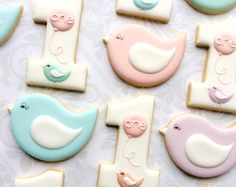 First birthday Number 1 pastel birds and Pink Balloons - One Dozen Decorated Sugar Cookies Bird Cookies, Cute Cookies, Cookies Et Biscuits, Cupcake Cookies, Sugar Cookies, First Birthday Cookies, Bird Birthday Parties, Cookie Bouquet, Royal Icing Cookies