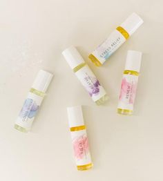 Designed to enhance your mood, uplift or just plain smell good, these essential oil blends are packaged to tote with you for pick-me-ups throughout the day. Each rollerball contains a specially mixed blend of scented oils, with different benefits. Choose your favorite two to create your own set.
